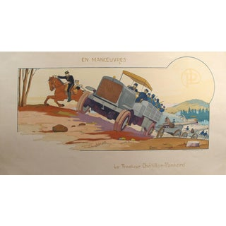 1914 Original French Art Deco Poster, en Manoeuvres/Tracteur Chatillon - Gamy For Sale