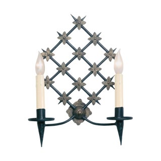 Ironware International Pascale Black Iron Sconce - 2 Available For Sale
