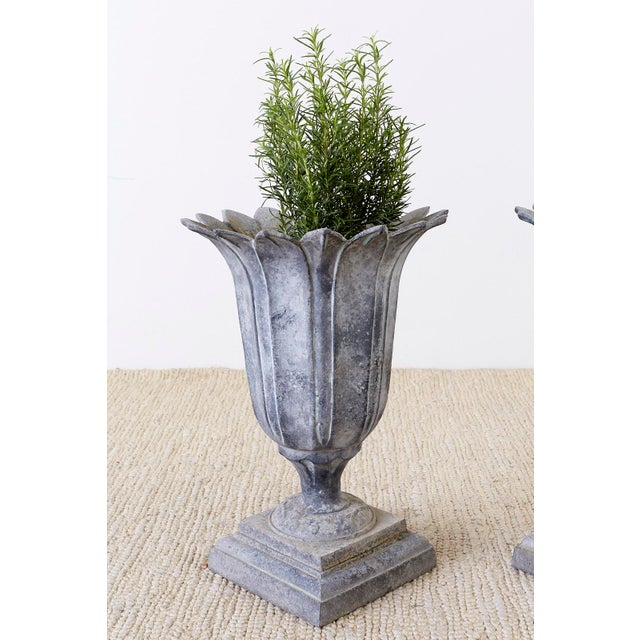 Pair of French Neoclassical Tulip Form Garden Urn Planters For Sale - Image 4 of 13