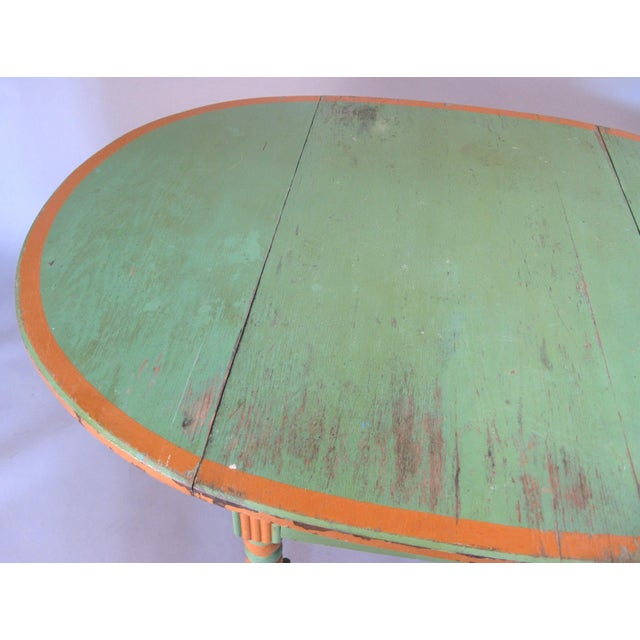 Antique 1920s Hand Painted Drop-Leaf Dining Table For Sale - Image 4 of 8