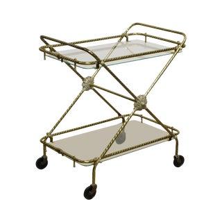 Hollywood Regency Vintage 1960's Brass & Glass X Base Trolly Bar Cart For Sale