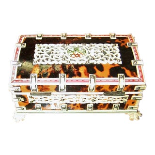 19c Anglo Indian Vizagapatam Shell and Faux Ivory Ring Box For Sale