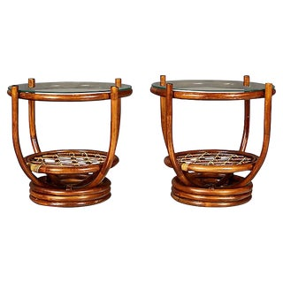 1960s Round Bamboo Side Tables, Pair For Sale