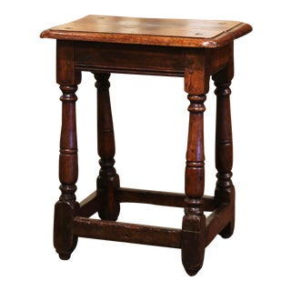 Mid-19th Century French Louis XIII Carved Oak Country Stool From Normandy For Sale