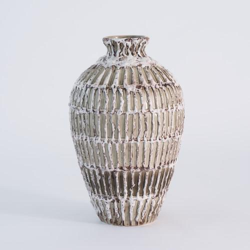 """Vesuvius Vase-White Antique-Lg The explosive nature of volcanic glazes produces multiple, color-filled, crusty layers on..."