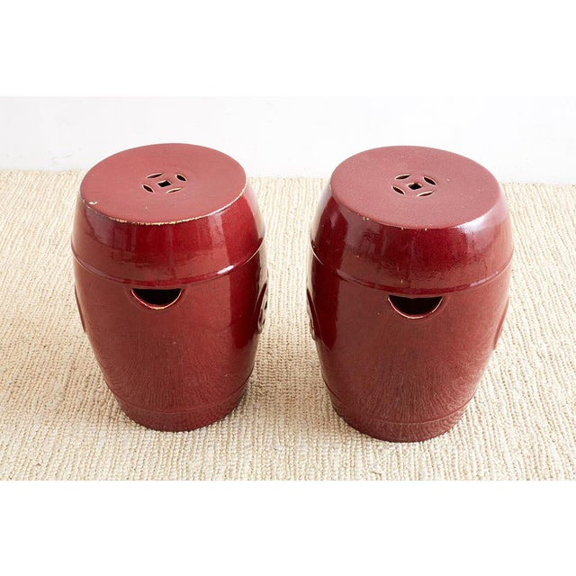 Chinese Oxblood Sang De Boeuf Style Garden Stools For Sale In San Francisco - Image 6 of 13