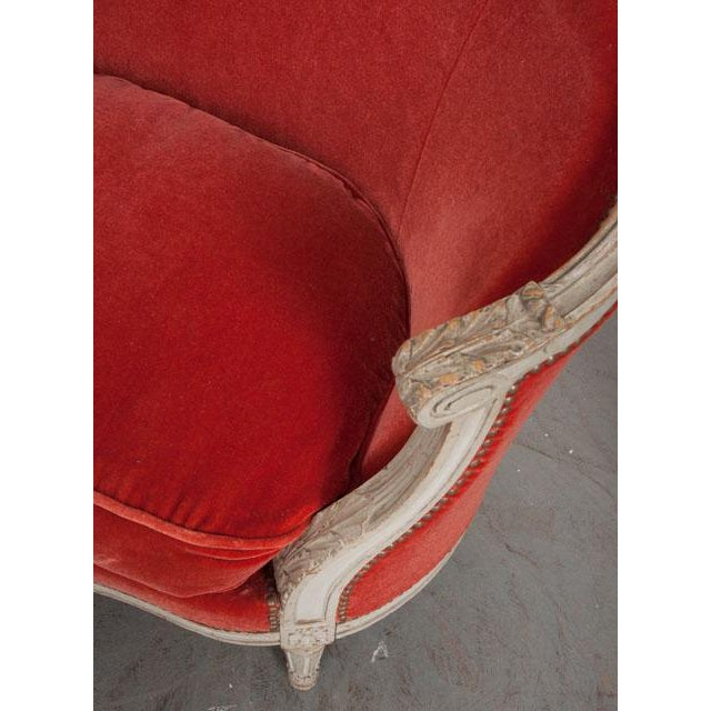 Brass French 19th Century Painted Louis XVI Style Settee For Sale - Image 7 of 11