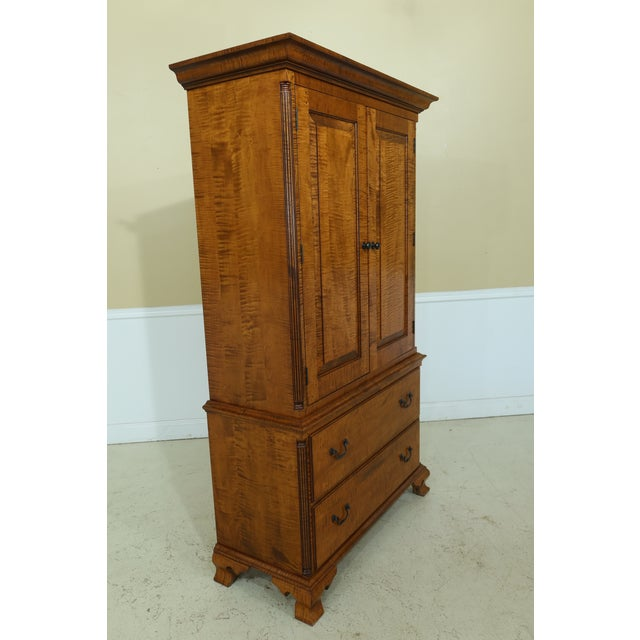 Wood Benchmade Tiger Maple Linen Press Armoire Cabinet For Sale - Image 7 of 13