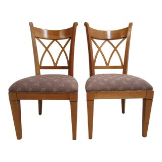 1990s Vintage Harden Furniture Solid Cherry Italy Regency Dining Room Side Chairs- A Pair For Sale