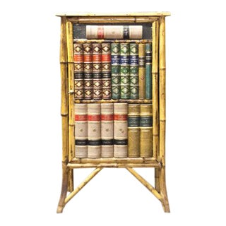 Late 19th Century Bamboo Cabinet with Faux Book Front Door For Sale