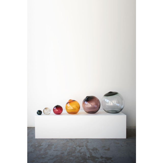 "Abstract SkLO Float Glass Vessel 6"" - Olivin For Sale - Image 3 of 5"