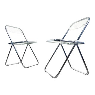 "1970s Vintage Giancarlo Piretti ""Plia"" Chrome Folding Chairs for Castelli- a Pair For Sale"