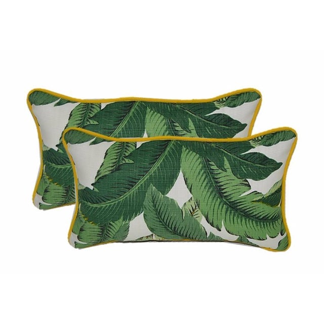Palm Lumbar Pillows With Yellow Cording - a Pair For Sale