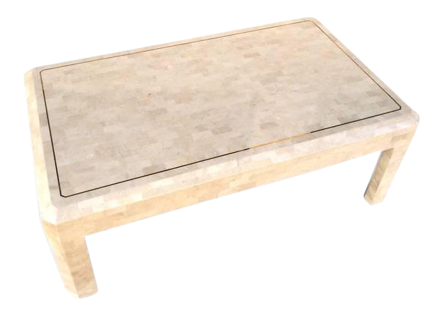 Tessellated Fossil Stone With Inlaid Brass Table By Maitland Smith For Sale