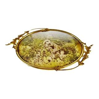 Antique Oval Convex Glass Brass Filigree Picture Frame