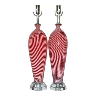 Dino Martens Murano Glass Lamps Red For Sale
