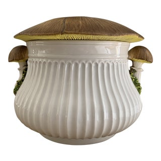 Vintage Trompe L'oeil Italian Ceramic Mushroom Tureen For Sale
