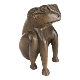 Mid Century Carved Wooden Frog For Sale