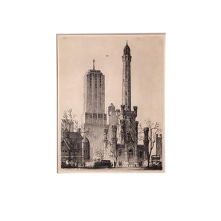 1932 Vintage Leon Rene Pescheret Chicago Water Tower Etching Print For Sale