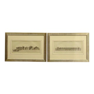 Early 19th Century Antique French Architectural Study Framed Prints - A Pair For Sale
