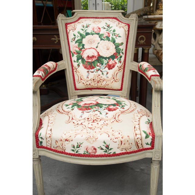 Louis XVI Style Painted Armchairs - a Pair For Sale - Image 4 of 13
