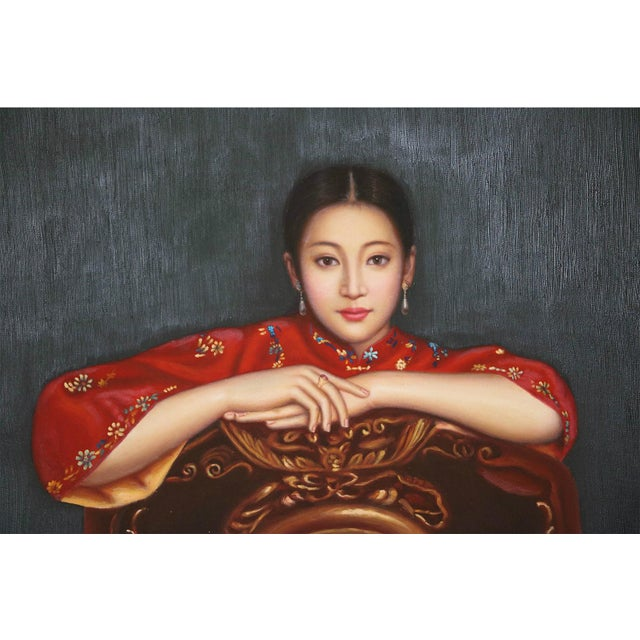 Chinese Woman Portrait Oil Painting by Guo Junyi For Sale - Image 5 of 7