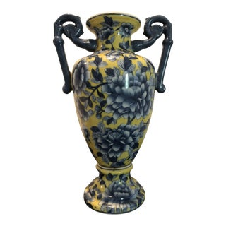 Chinese Yellow and Blue Porcelain Peony Vase With Double Handles For Sale