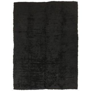 Black Vintage Super-Soft Combed-Goat Hair-Kilim | Siirt Bataniye | 5x7 For Sale