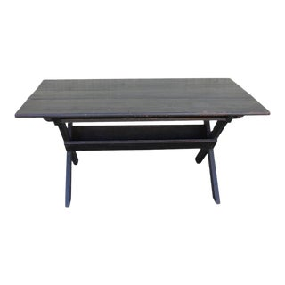 19thc Black Painted New England Sawbuck Table For Sale