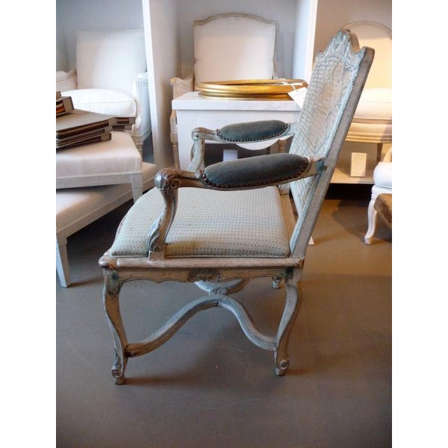 French 18th Century Painted Cane-Back Armchair For Sale - Image 3 of 11