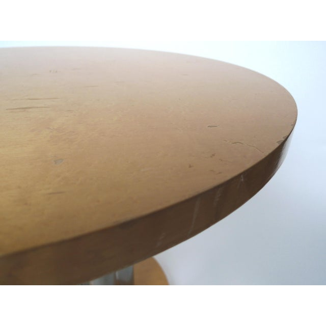 Deco Style Round Chrome & Sycamore Side Tables - A Pair - Image 7 of 10