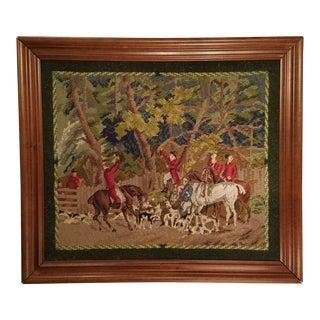1950s Vintage Handmade Framed Needlepoint Equestrian Fox Hunting Scene For Sale