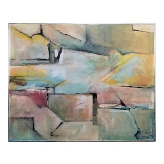 Abstract Expressionist Oil Painting-Signed and Dated-Kimberly Moore 1975- Large Vintage Mid Century Modern MCM Geometric Cubist Expressionism Impasto For Sale