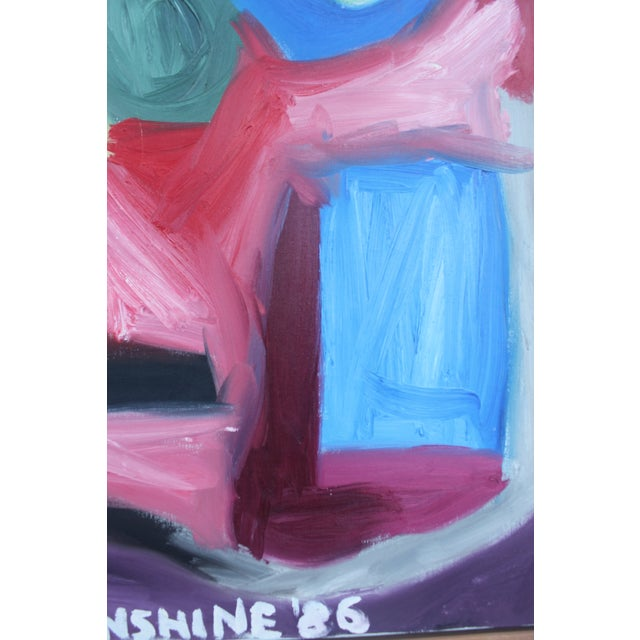 Blue 1986 Vintage Expressionist Painting For Sale - Image 8 of 10