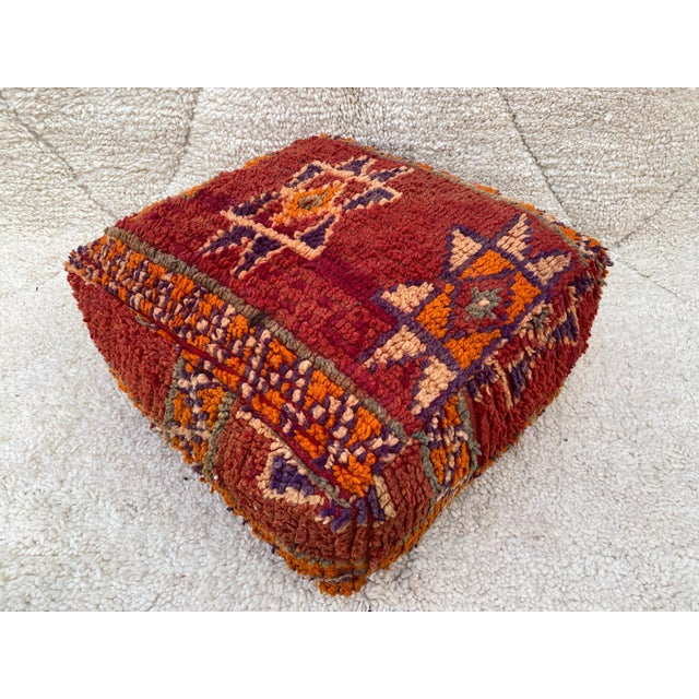 Moroccan Red Unstuffed Pouf For Sale - Image 13 of 13