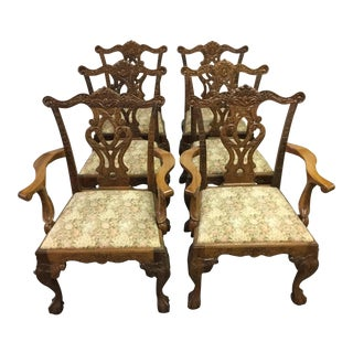Mahogany Chippendale Style Dining Room Chairs- Set of 6 For Sale
