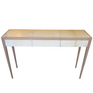 Custom Cerused Oak and Parchment Console Table For Sale