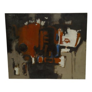 """20th Century Contemporary Original Framed Painting on Canvas, """"Red Robot"""" by Frederick McDuff"""
