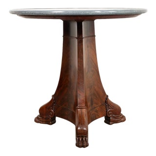 19th Century French Mahogany Pedestal Center Table For Sale