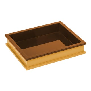 Jeffrey Bilhuber Collection Small Rectangular Tray in Mayan Gold / Saddle Tan For Sale