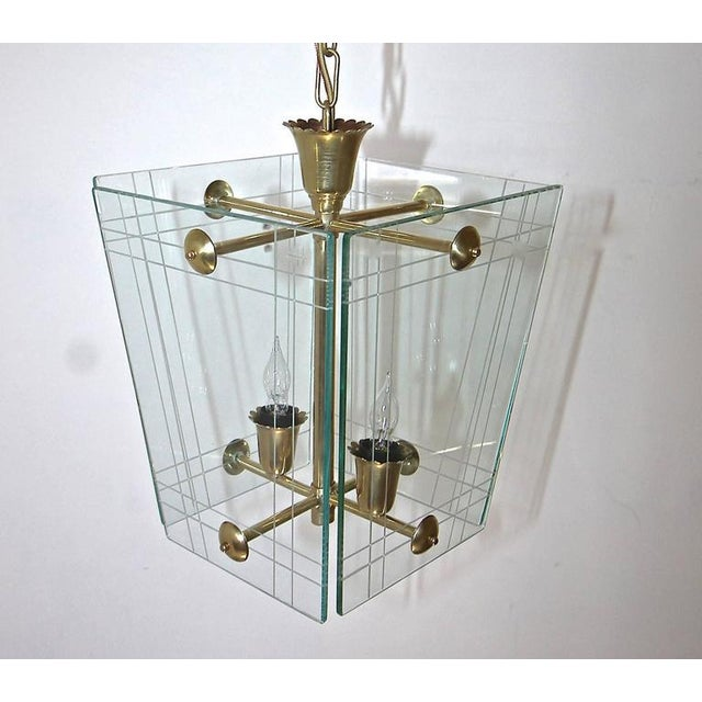 Metal 1950s Italian Fontana Arte Style Hall Entry Glass Pendant For Sale - Image 7 of 13