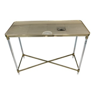 Contemporary Mirrored Top Acrylic/Brushed Brass Frame Console Table For Sale