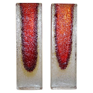 1950 Italian Organic Crystal, Yellow & Red Murano Art Glass Flower Vases - a Pair For Sale