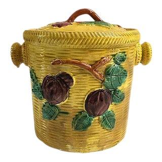1950s Majolica Biscuit Barrel For Sale