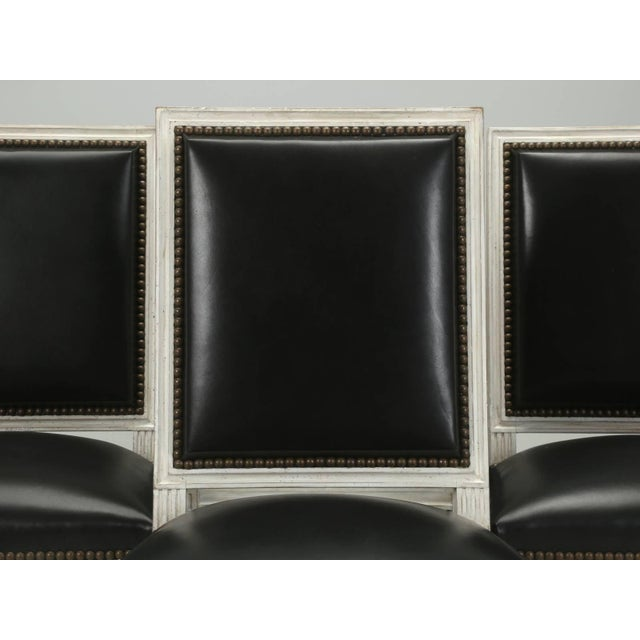 French Louis XVI Style Dining Chairs in Black Leather and Distressed White Paint - Set of 6 For Sale - Image 10 of 12