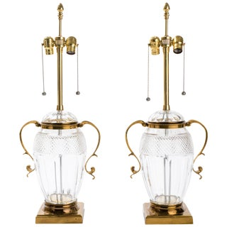 Pair of Brass and Cut-Glass Urn Table Lamps For Sale