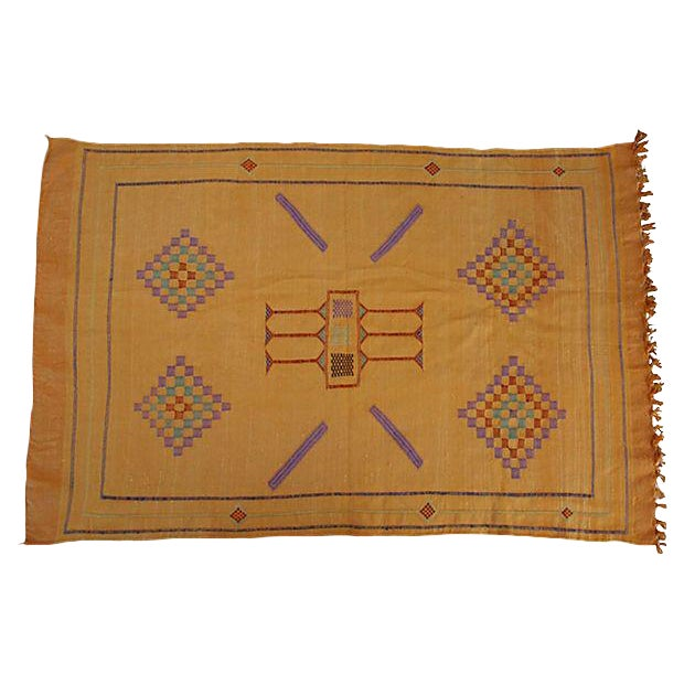 "Moroccan Cactus Silk Rug in Orange - 3' X 4' 7"" For Sale"