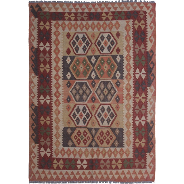 """Hand Knotted Maimana Kilim by Aara Rugs - 6'5"""" x 4'11"""" For Sale"""