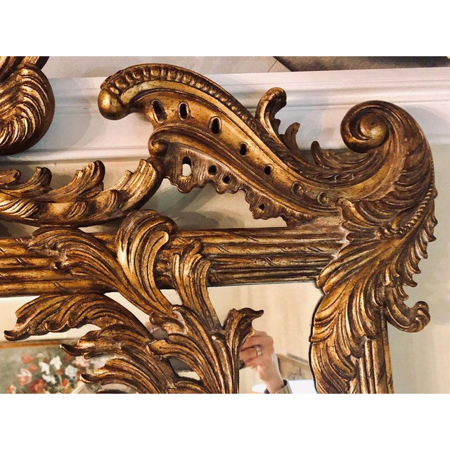 1960s La Barge Italian Style Foliate Giltwood Wall, Console or Over the Mantle Mirror For Sale - Image 5 of 13