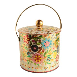 Daher English Chintz Handled Tin For Sale